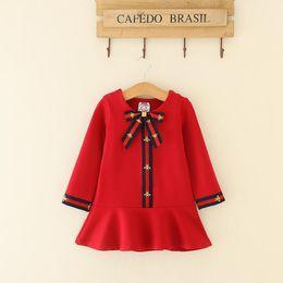 efa79bd245b Kids Girl Dress Baby Girl Bow Striped Dresses 2018 New Autumn Infant  Princess Full Sleeve Dress For Party Children Clothing S14