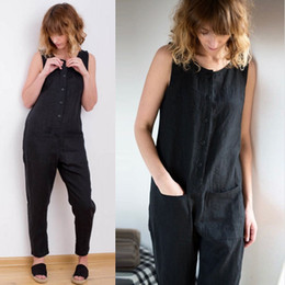 2018 Celmia Vintage Women Pantalones de lino de algodón sin mangas Pantalon  Palazzo Backless Buttons Pantalones sin tirantes de las mujeres ropa de  mujer ... 6d042853f1db