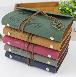 RuiZe viajero de la vendimia cuaderno de viaje diario diario cuaderno de notas cubierta de cuero A7 A6 carpeta de anillo papel kraft cuaderno de bocetos en blanco desde fabricantes