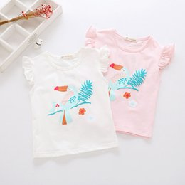 Wholesale Twigs Wholesale - 2018 summer new Korean version of small young girl child tree twigs foamed flying sleeves T shirts