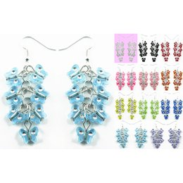 la farfalla acrilica borda all'ingrosso Sconti Butterfly Bead Earrings 11 Colori Acrilico Bead Hook Chandelier Ciondola Eardrop Lotti all'ingrosso (Bianco Nero Rosso Verde Blu Giallo) (JZ028)