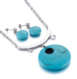 silver jade for men Coupons - 2018 Fashion Bullet Shape Natural Stone Pendant necklaces Earring Set turquoise Crystal gems Jewelry for women men Gold Silver Chains Jade