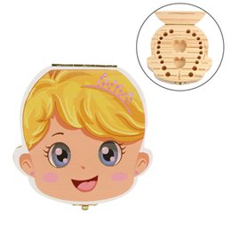 Wholesale kids paint box - Baby Teeth Storage Box Kids Boy Girl Tooth Collection Box Painting Wood Storage Box Organizer for Baby Save Milk Teeth Infant Hair New