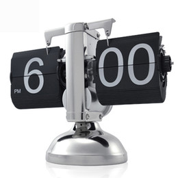 Wholesale office desk free - Free Shipping 1Piece Retro Auto Number Flip Down Clock For Office Decoration Desk Clock Small Scale Desktop in stock