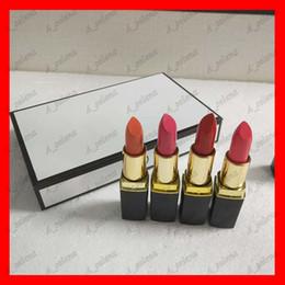 Color de labios negro online-Marca popular Lip Makeup Mate lápiz labial 4 color negro tubo mate lápiz labial 4 unids / set envío gratis
