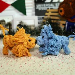 Pequenos brinquedos fofos on-line-2018 moda pet mastigar brinquedo molar bonito pequeno leão corda de algodão boneca de malha cão teether toys cães práticos suprimentos 5 8yf x