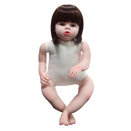 Wholesale Baby Reborn Girl - 28'' Silicone Reborn Toddler Dolls Handmade Lifelike Soft Vinyl Naked Girl Doll Gifts Realistic DIY Baby Doll without Clothes