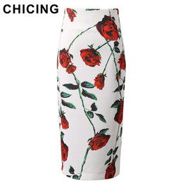 Wholesale Ladies Floral Knee Length Skirts - CHICING 2016 Pencil Womens Skirts Roses Floral Print High Waist Back Split Wrap Office Ladies Bodycon Midi Skirts Saias B1511030