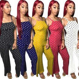 9eca1876e8708 Plus Size Women Designer Clothes Loose Jumpsuits Summer Spaghetti Strap  Rompers Trendy Sexy Night Club Polka Dot Overalls BodysuitHOT