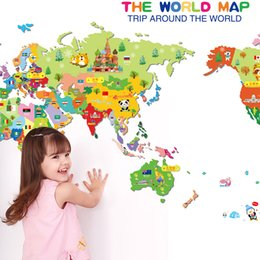 Wholesale Wall Art Kids Playroom - World Map Vinyl Art Wall Sticker For Kids Room Decoration Animals Playroom Nursery Room Wall Decals