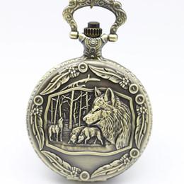 Wholesale Mens Necklaces Wolf - New Arrival Bronze Wolf Pattren Quartz Pocket Watch Pendant Necklace Fob Watch Mens Womens Xmas Gift