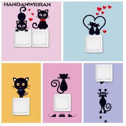 2019 статические настенные наклейки Милый маленький черный кот переключатель стикер виниловые наклейки могут быть украшены на стене черный кот наклеить наклейки на стену