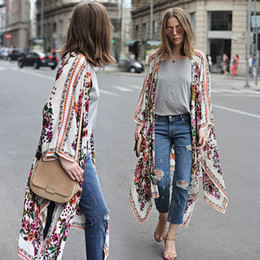 wholesale kimonos Promo Codes - Women Boho Beach Pretty Floral Print Loose Shawl Kimono Cardigan Long Top Femme Hipster tumblr cappa Blouse Plus Size