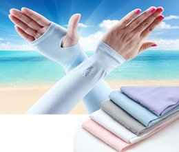 Wholesale cool arm sleeves - 1 Pair Sun Cooling Arm Sleeves For Cycling Basketball Football Running Golf Outdoor Sports Protective UV Arm Sleeves DDA426