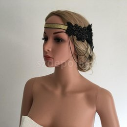 Razas ascot online-2pcs / lot Mujer Señora Flapper Feather Beads Chian Diadema Hairband 1920s Gran Gatsby Royal Ascot Race Fascinator
