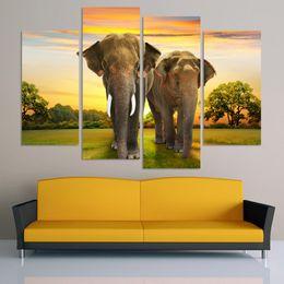 Arte do painel do elefante on-line-Sem moldura Pintura 4 Painel Na Lona Sala de estar Home Decor Wall Art Pintura A Óleo Dois Elefante na pastagem