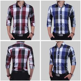 Wholesale linen shirt colors - 2 Colors Men Sporting Life Plaid Shirt Long Sleeve Casual Shirts Button Business Dress Shirt CCA9115 10pcs