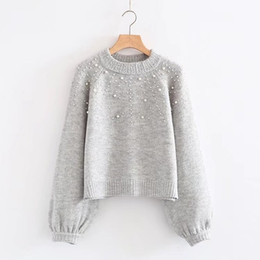 Wholesale female ribs - 2018 New Spring Women Beading Lantern Sleeve Knitted Sweater Female Causa Light Gray Christmas Sweater Pull Femme Hiver