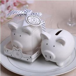 Wholesale Christening Boxes Wholesale - Ceramic Mini Piggy Bank in Gift Box With Polka-Dot Bow Coin Box for Baby Shower Favors Christening Gifts Party Favors CCA9179 100pcs
