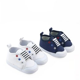 Wholesale Navy Baby Shoes - New Arrivals Baby Soft Sole Crib Shoes White Navy Color Baby Boys Fashion Sneakers Cute Little Sport Casual Shoes First Walkers