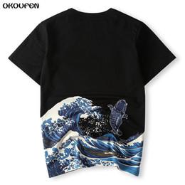 2019 tops de estilo japonés Los hombres japoneses del estilo de Ukiyoe T Shirt Imprimir Wave Carp Carp Fish Verano de alta calidad T-shirt Tops Tees Tamaño de la manera 4XL Envío gratisTXS38 rebajas tops de estilo japonés