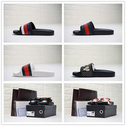 Wholesale dark tiger - 2018 Designer Tiger Slide Beach Designer Slippers Pursuit Satin Sandals Women Men Brand Luxury Shoes Casual Fashion Flip Flops Slipper 36-44