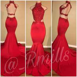 Wholesale High Neck Lace Dress Party - Sexy Backless Hot Red Mermaid Prom Dresses High Crew Neck Applique Beads Court Train Formal Evening Party Gowns