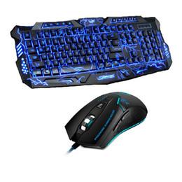 Ratón de respiración online-Púrpura / azul / rojo LED Respaldo Retroiluminación Pro Gaming Keyboard Mouse Combos USB con cable completo Llave 3200dpi Teclado profesional para mouse
