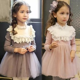 Wholesale Western Cotton Dresses - Girls Ruffles Lace Tutu Sweet Princess Dress Western Baby Girls Lovely Tulle Children Dress Clothing B11