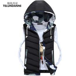 Wholesale Korean Men Winter Vest - TELUNDANNI 2017 Autumn Winter Fashion Ultralight Vest Men Hooded Youth Korean Casual Thicken Sleeveless Jacket