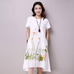Frauen beiläufige kleider weiße baumwolle online-Sommerkleid Plus Größe Kurzarm Weiß Frauen Kleid Casual Baumwolle Leinenkleid Lotus Druck O-ansatz Vestidos de Festa