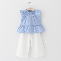 Wholesale Ruffle Leg Baby Pants - Baby girls Two Piece suit 2018 INS explosions children's clothing girls ruffled shirt + wide leg pants suit