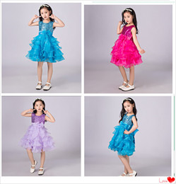 Wholesale Dress Child Garment - Children Garment Big Girl Performance Skirt Summer Sequins Princess Dress Big Ribbon Back Bow Purple Blue Rose Kids Clothes