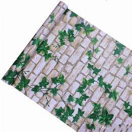 Folhas verdes papel de parede on-line-Prova de água Telha Da Parede de Papel Adesivo Tijolo Verde Folha de Autoesão Sala de estar Do Hotel Banheiro Varanda Casa Decorar Wallpapers 12 7jb bb