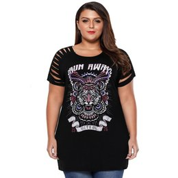 Wholesale T Shirt Plus Size Tiger - Plus Size Tiger Print T Shirt Women Summer Casual V Neck TShirt Gray Sexy Hollow Out Shirts Lace Up Top LC250975