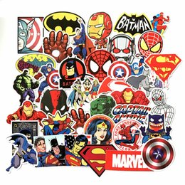 Wholesale classic door - 50Pcs Lot Marvel Anime Classic Stickers Toy For Laptop Skateboard Luggage Decal Waterproof Funny Spiderman Stickers