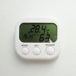 Wholesale moisture measuring - Brand New Digital Thermometer Humidity HYGRO Hygrometer Air Moisture Clock TA638 White Measuring Range (0-50 C) ABS Material