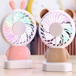Wholesale Lanyards Wholesale China - Summer Cartoon Rabbit Bear Panda LED Light Mini USB Fan Handheld Portable USB Lanyard Fan For Children Students Kids