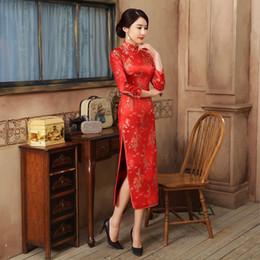 2019 vestido de novia de manga larga de satén de seda Vestido de novia tradicional chino de estilo nacional rojo Mujer Satén de seda de manga larga Cheongsam Largo Qipao Talla S M L XL XXL LGD0405 vestido de novia de manga larga de satén de seda baratos