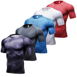 2019 ropa interior negro brillante 2018 Compresión de secado rápido para hombre Camisetas de manga corta Camisa deportiva Fitness Tight Tenis Fútbol Jersey Gimnasio Demix Ropa deportiva