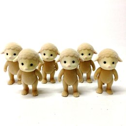 Wholesale Baby Doll Sheep - Set 6PCS Sylvanian Families Figure Sheep Family Calico Critters Animal Mom Mother Pet Baby Boy Girl Kid Dolls Toy Movies Cartoon Gift