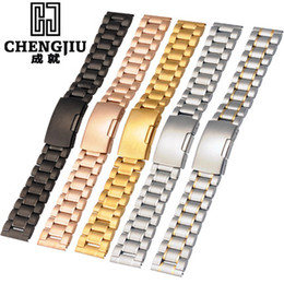 Wholesale mens solid gold bracelets - 18 20 22 24 mm Mens Solid Steel Watch Band Deployment Clasp Rose Gold Bracelet Wrist Watchband Belt Male Straps Montre Masculino