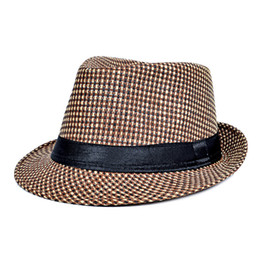 Wholesale Check Dhl - DHL Hot fashion jazz straw hats for men Panama woven hats wide brim sun Hats cool men jazz top caps