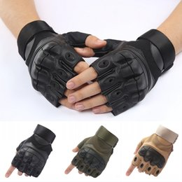 Wholesale Mitten Fingerless - Tactical Shooting Half Finger Gloves Military Mitten With For Riding Motorcycle Airsoft Fighting Outdoor Antiskid Gloves Free DHL G699F