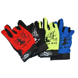 Wholesale light blue gloves - Outdoor Sport Fish Glove Three Fingers Of Dew Lure Curettage Wear Resisting Fishing Gloves Red Yellow Black Blue 5 5zc dd
