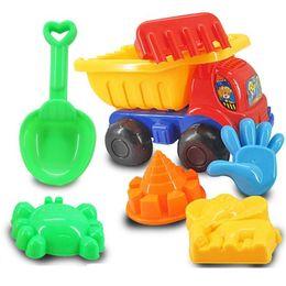 Wholesale Sand Beach Toy Set - Wholesale-7Pcs Sand Sandbeach Kids Beach Toys Car Bucket Spade Shovel Rake Water Pretend set Toys Gift Levert Dropship Oct 26