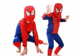 Wholesale Cotton Spiderman Costume - Children Clothing Sets Christmas Spiderman Cosplay Costume Kids Sets Long Sleeve Toddler Baby Sleepwear