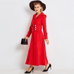 Abrigos de invierno modernos online-Mujeres gabardina larga rojo moderno Inglaterra Vocation abrigo de invierno otoño con capucha Outwear botón una línea elegante Retro Maxi Coat