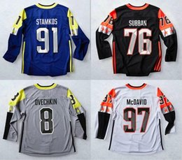 Wholesale Red Gray Hockey Jersey - 2018 All-Star Game 97 Connor McDavid Jersey 91 Steven Stamkos 8 Alex Ovechkin 76 P.K. PK Subban Stitching Blue White Gray Black Size S-3XL