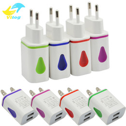 Wholesale led light power adapter - Wall Charger Light Up Water-drop LED Dual USB Ports Home Travel Power Adapter 5V 2.1A + 1A AC US EU Plug For Samsung